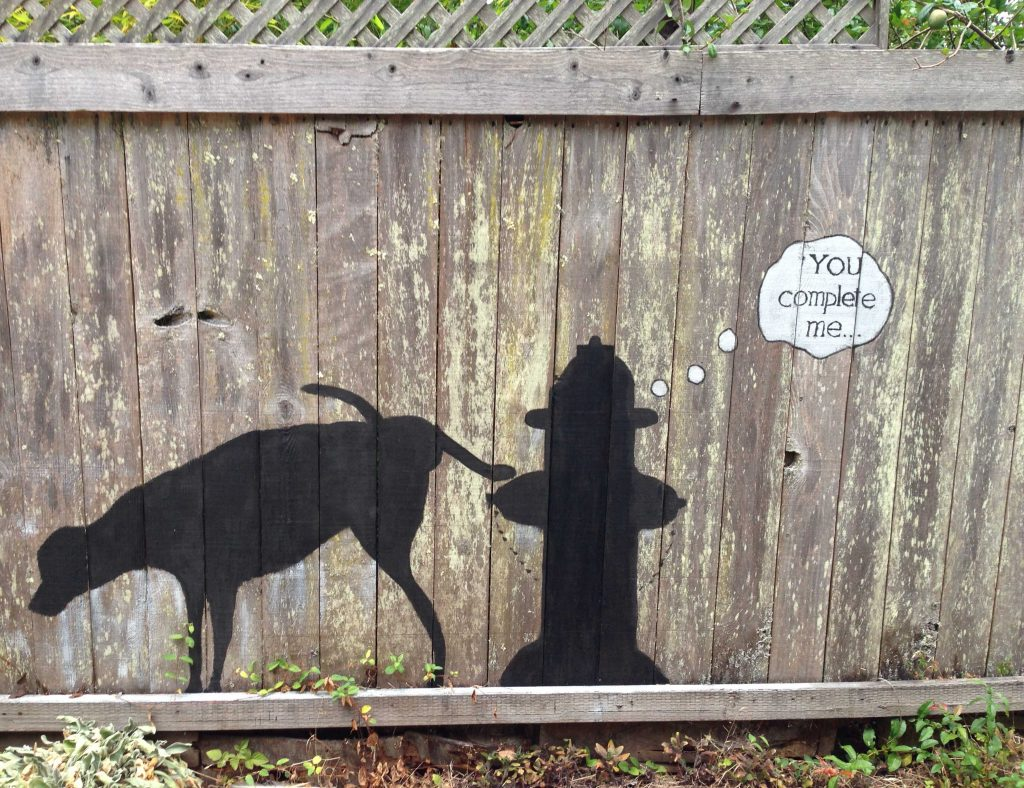 "Silhouette of dog lifting its leg on a fire hydrant, painted on the side of a fence. It says ""You complete me..."""