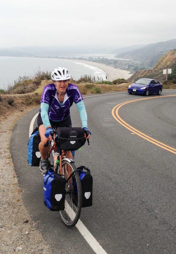 Julie climbing Highway 1