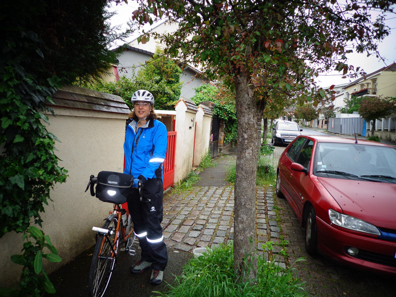 Running errands in the rain in the suburbs of Paris