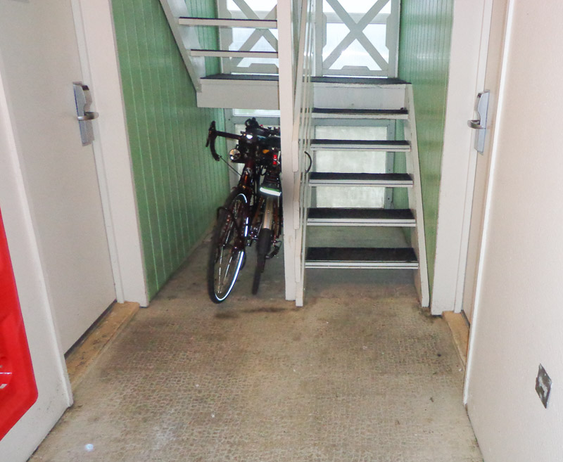 Bicycles stored under stairwell at Saint Mard Balladin Hotel