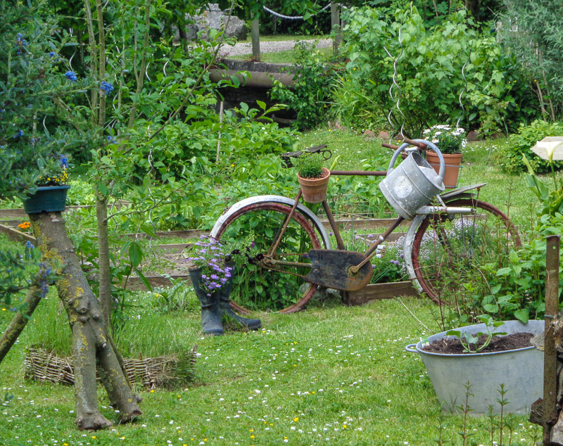 Bicycle art in the middle of a lush backyard