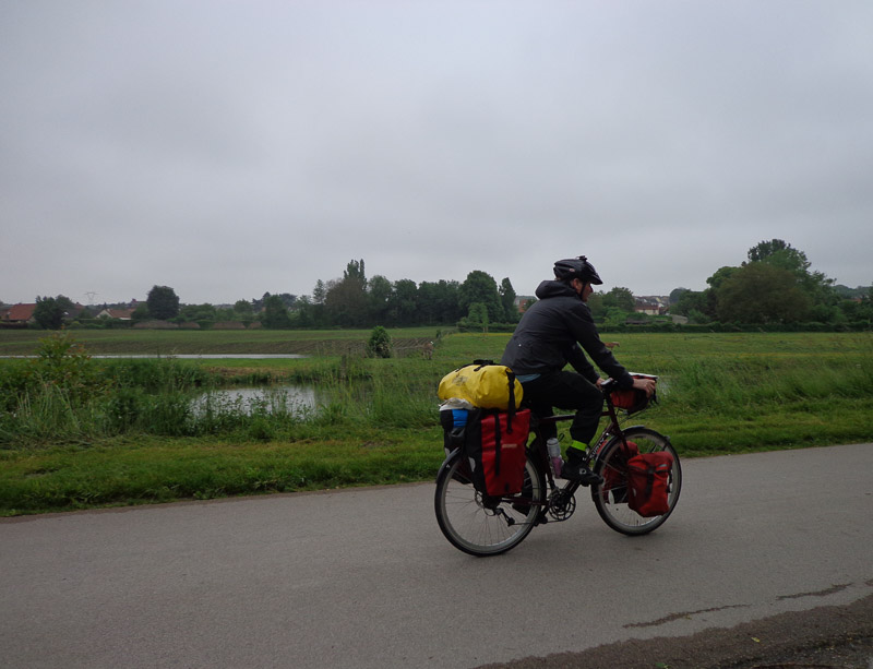 Mark riding along beautifully paved bike trail along the canal out of Amiens