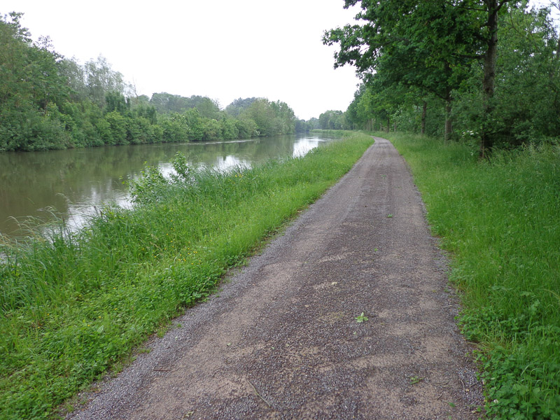 The canal trail is nearly deserted on a grey, rainy weekday